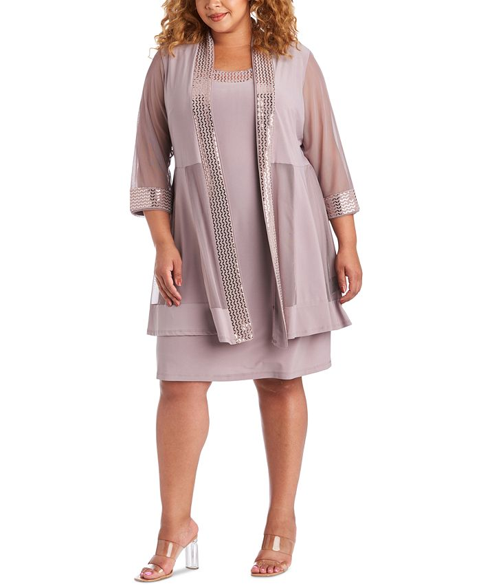 R & M Richards - Plus Size Embellished Dress & Illusion Jacket