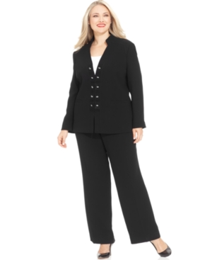 Tahari by ASL Plus Size Military Pantsuit