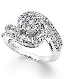 Diamond Cluster Swirl Ring in 14k White Gold (1 ct. t.w.)