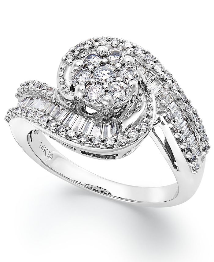 Macy's - Diamond Cluster Swirl Ring in 14k White Gold (1 ct. t.w.)