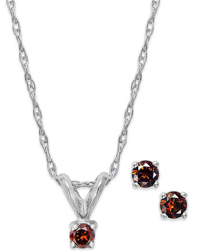 Macy's - 10k White Gold Red Diamond Necklace and Earring Set (1/10 ct. t.w.)