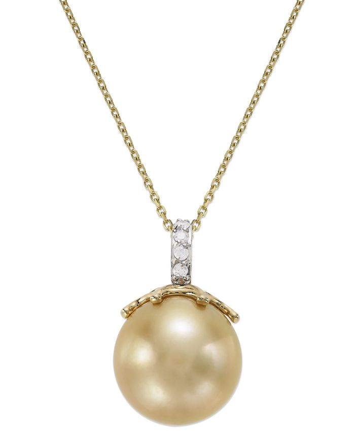 Macy's - 14k Gold Golden South Sea Pearl (14mm) and Diamond Accent Crown Pendant Necklace