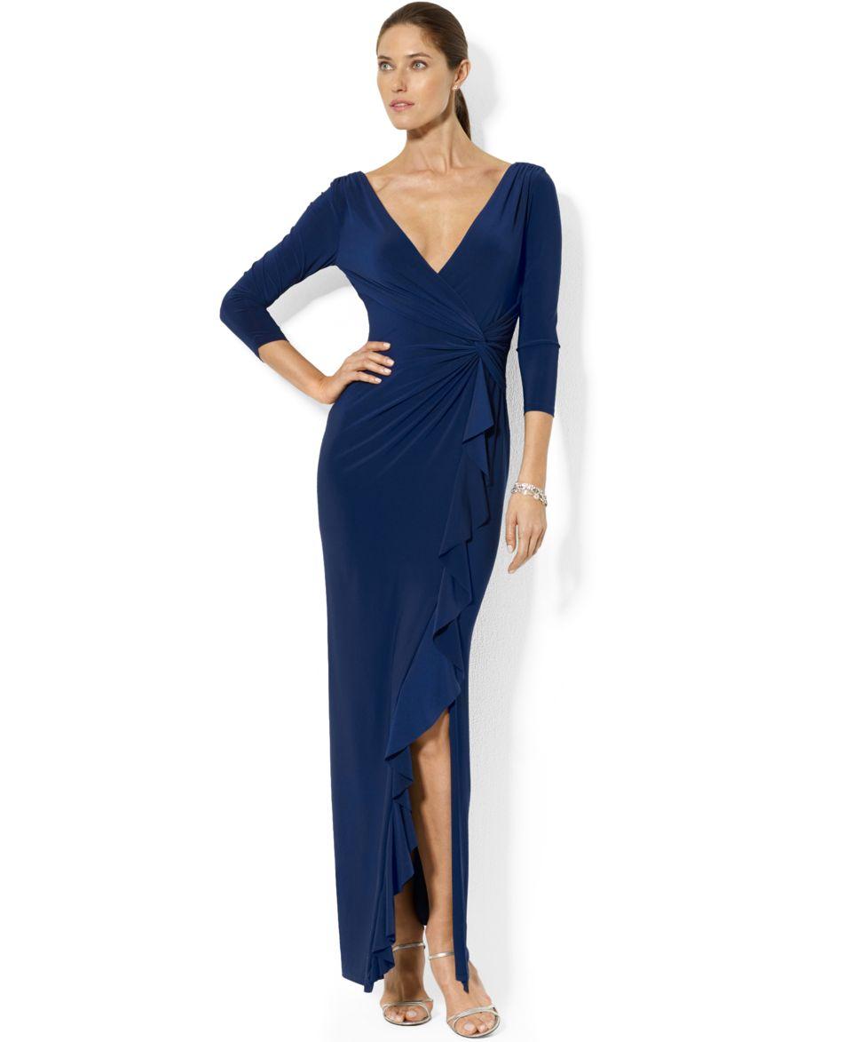 Lauren Ralph Lauren Long Sleeve Colorblocked Gown   Dresses   Women
