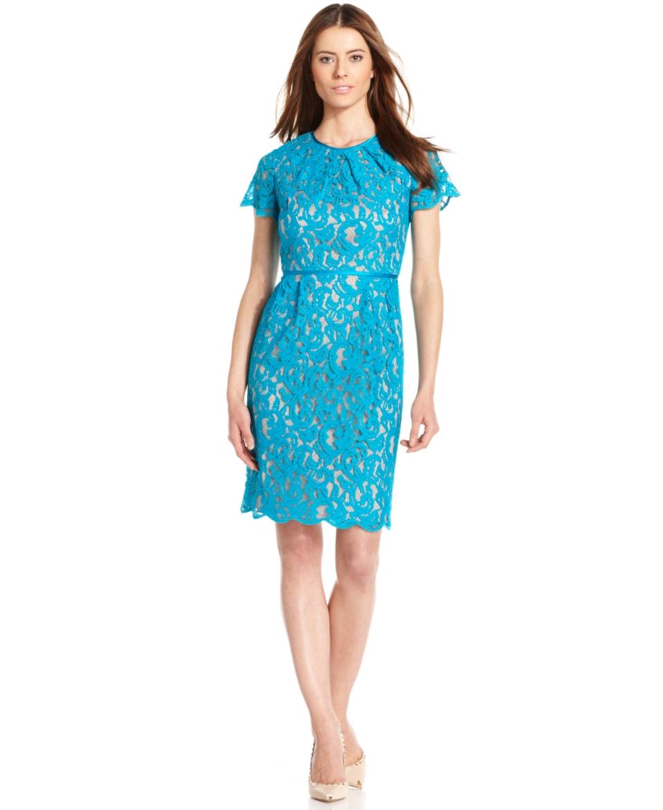 Adrianna Papell Flutter Sleeve Lace Dress   Dresses   Women