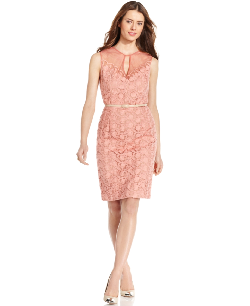 Maggy London Embroidered Keyhole Belted Dress   Dresses   Women