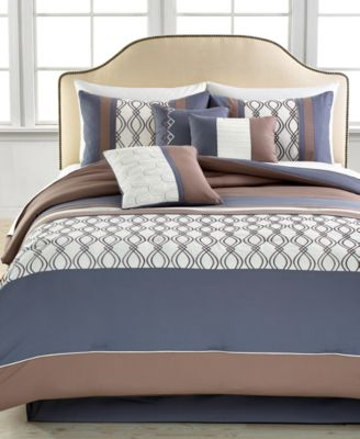 Helix 7 Piece Queen Embroidered Comforter Set