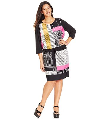 London Times Plus Size Graphic-Print Blouson Dress