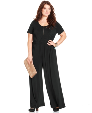 American Rag Plus Size Short-Sleeve Jumpsuit