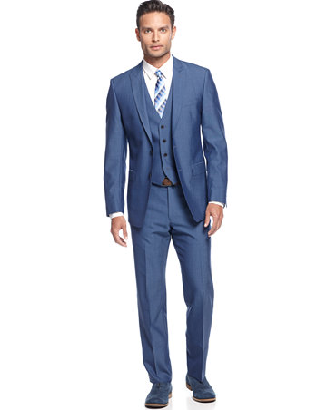 Calvin Klein Medium Blue Vested Slim X Fit Suit Suits