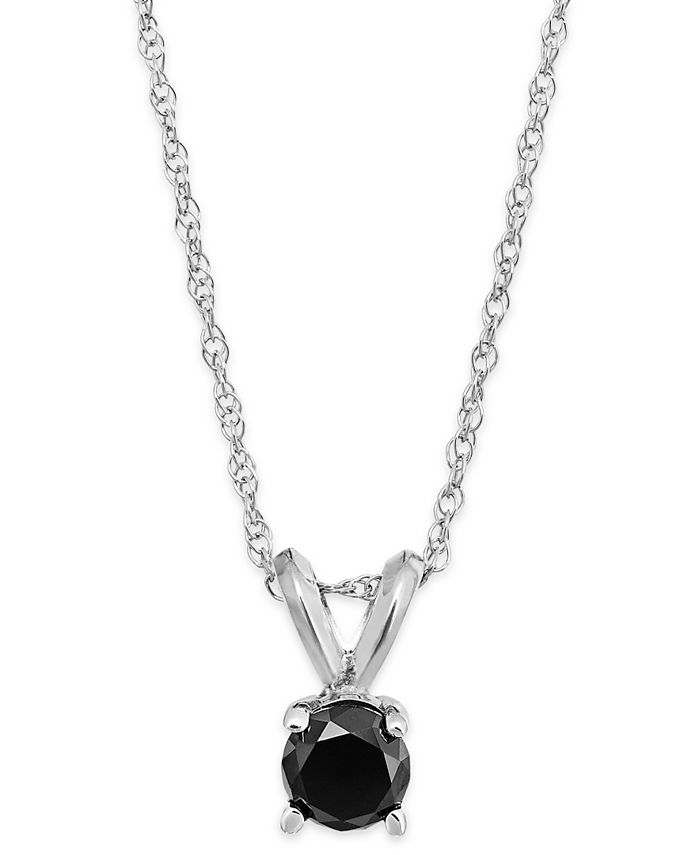 Macy's - Black Diamond Round Pendant Necklace in 10k White Gold (1/5 ct. t.w.)