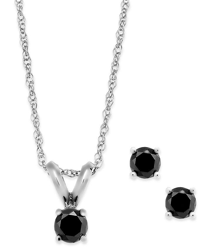 Macy's - Black Diamond Jewelry Set in 10k White Gold (1/5 ct. t.w.)