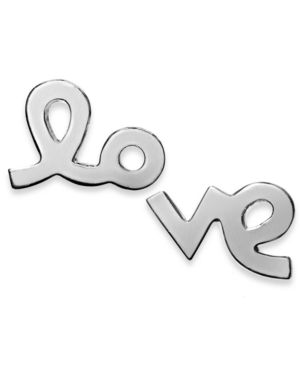 "Studio Silver - ""Love"" Stud Earrings in Sterling Silver"