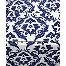 Waverly Damask Ikat Ink Indoor/Outdoor Table Linens Collection
