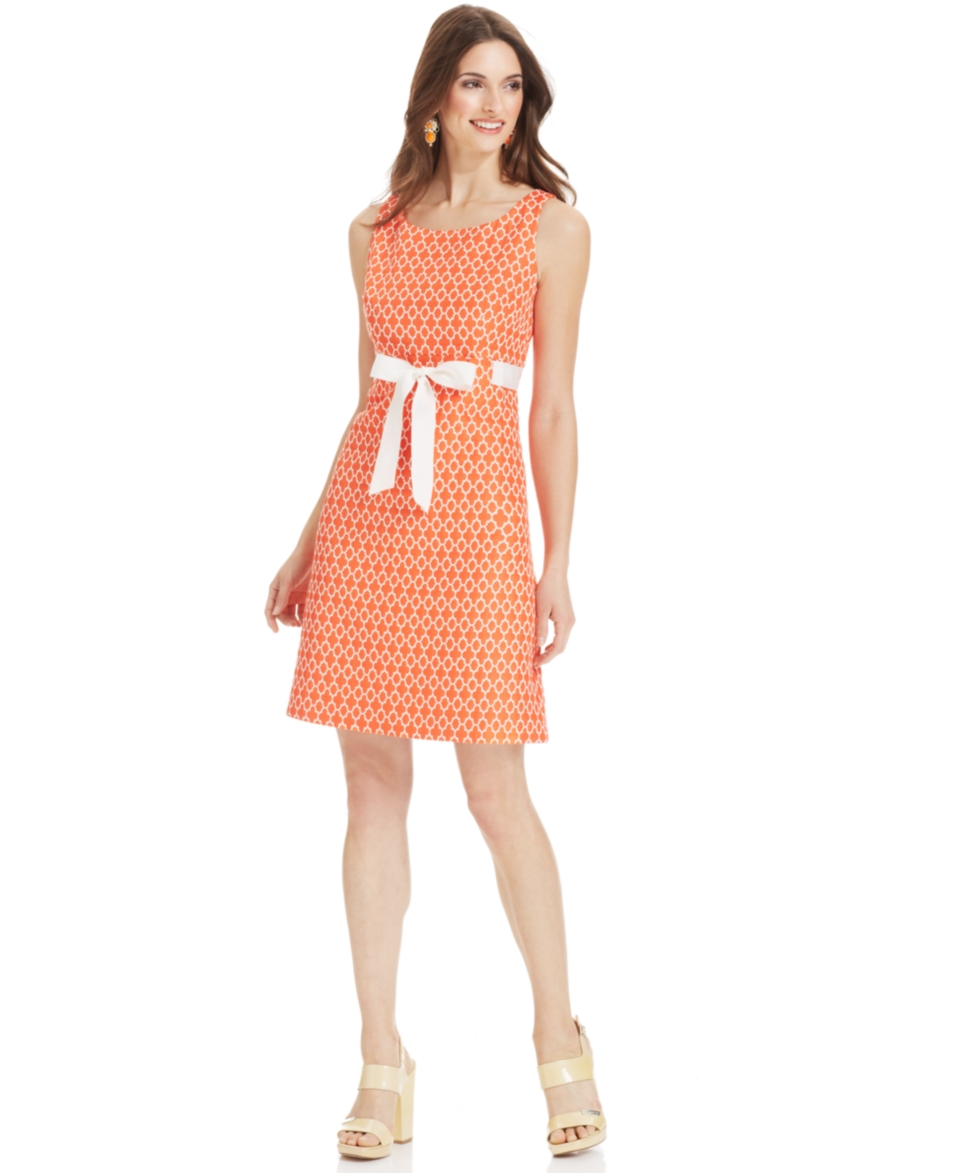 Jessica Howard Sleeveless Jacquard Belted Dress   Dresses   Women