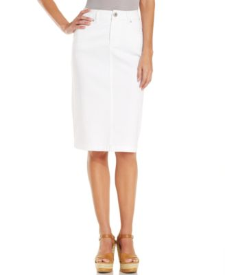White Jean Pencil Skirt