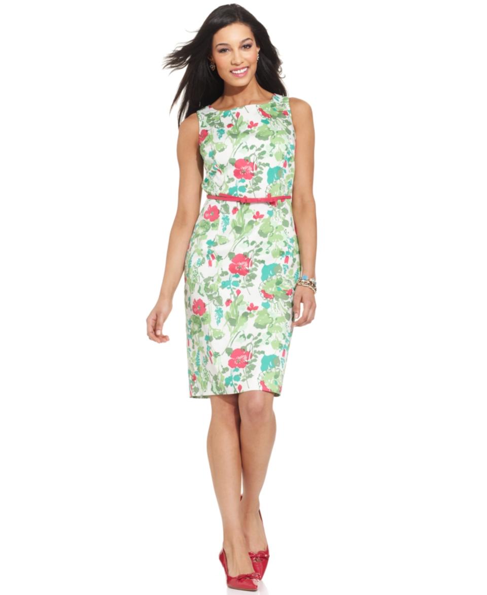 Charter Club Petite Sleeveless Floral Print Belted Sheath Dress   Dresses   Women