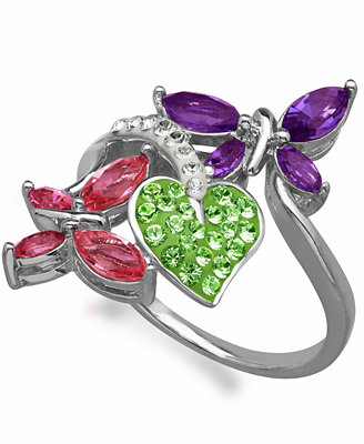 Kaleidoscope Multi-Colored Swarovski Crystal Elements Double Butterfly Ring in Sterling Silver (1-3/4 ct. t.w.)