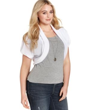 Extra Touch Plus Size Short-Sleeve Sheer-Back Shrug