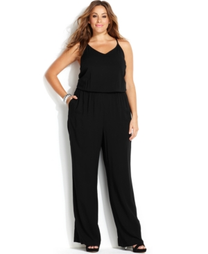 INC International Concepts Plus Size Sleeveless Illusion-Back Jumpsuit