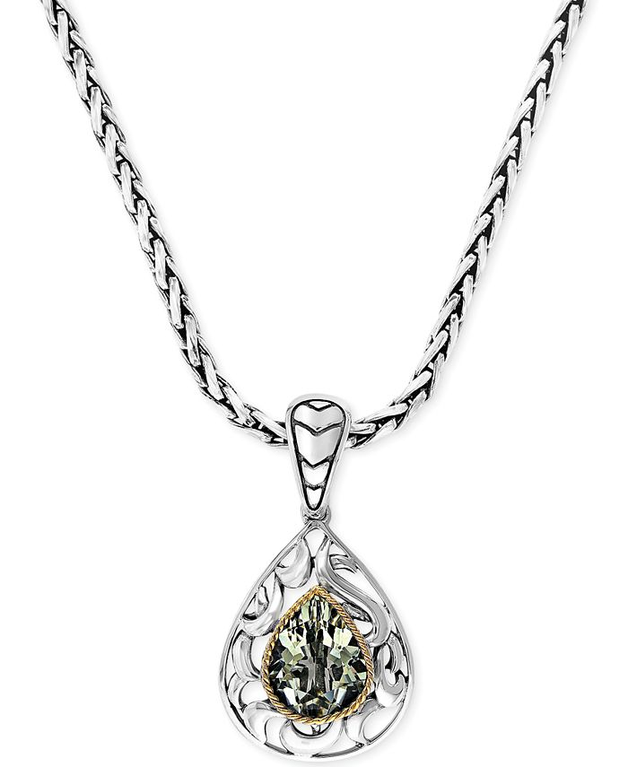 EFFY Collection - Green Quartz Pear Pendant Necklace in 18k Gold and Sterling Silver (2-3/4 ct. t.w.)