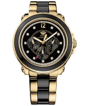 Juicy Couture Women's Pedigree Black and Gold-Tone Stainless Steel Bracelet Watch 42mm 1901129