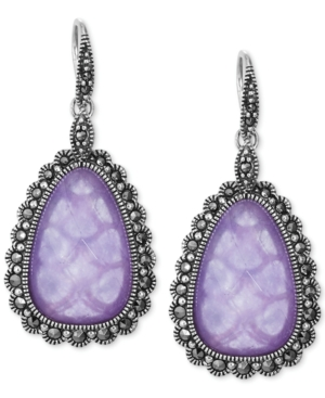 Genevieve & Grace lavender jade and marcasite teardrop earrings in sterling silver