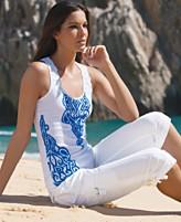 Conceptos INC Internacionales impresas adornada con encaje Top y recortada pantalones cargo
