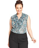Tahari ASL Plus Size Printed Ruffle Button-Down Blouse