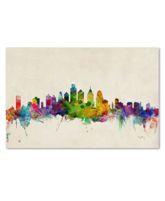 "'Philadelphia Skyline' Canvas Print by Michael Tompsett, 16"" x 24"""