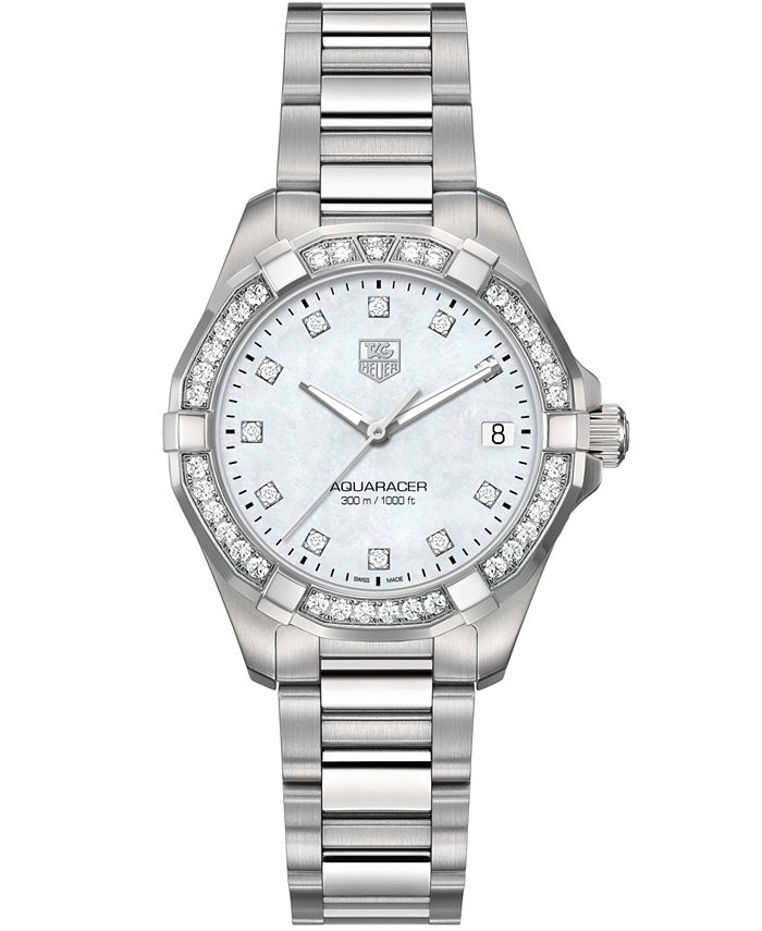 TAG Heuer - Women's Swiss Aquaracer Diamond (9/20 ct. t.w) Stainless Steel Bracelet Watch 32mm WAY1314.BA0915