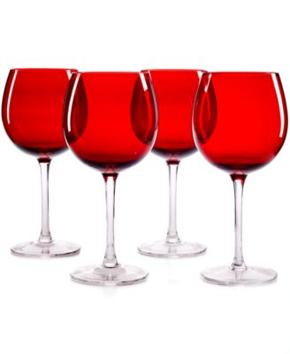The Cellar Glassware, Set of 4 Ruby Balloon Wine Glasses