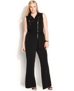 Calvin Klein Plus Size Wide-Leg Moto Jumpsuit