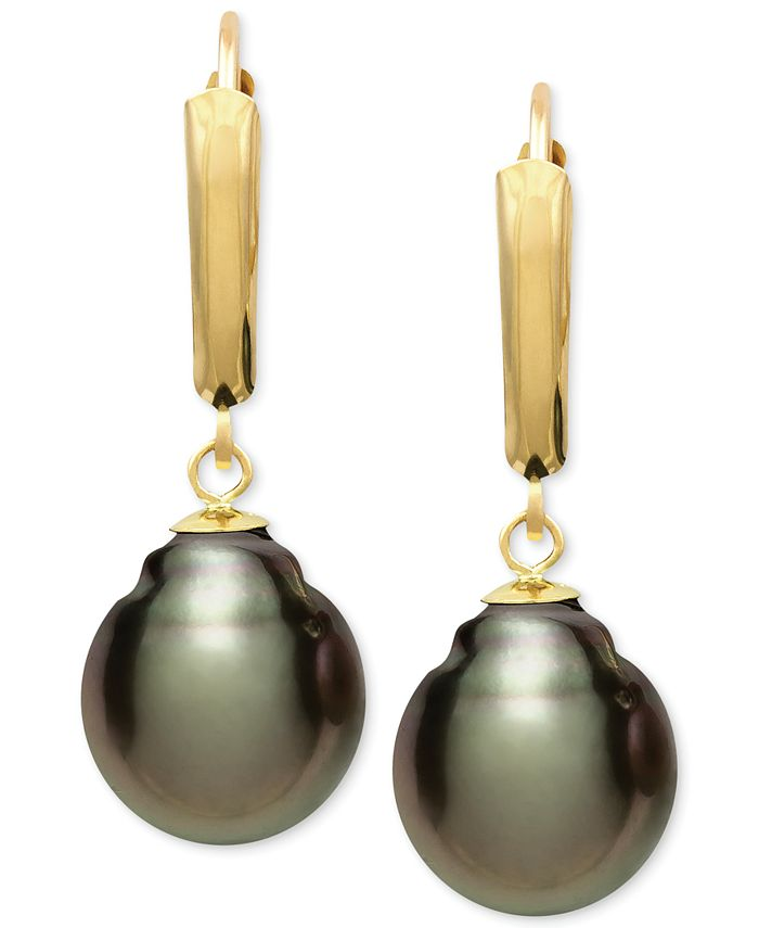 Belle de Mer - Tahitian Pearl (10mm) Leverback Earrings in 14k Gold