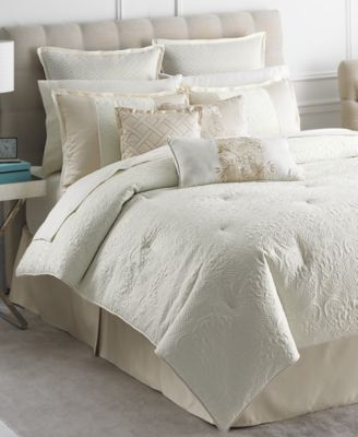 CLOSEOUT! Martha Stewart Collection Marble Flowers 9 Piece King Comforter Set