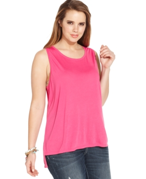 Extra Touch Plus Size Zip-Back Tank Top
