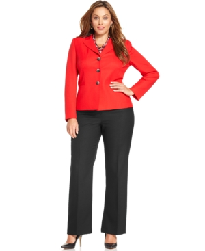 Le Suit Plus Size Three-Button Pantsuit & Scarf