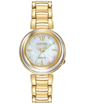 Citizen Women's Eco-Drive L Series Sunrise Gold-Tone Stainless Steel Bracelet Watch 30mm EM0334-54D