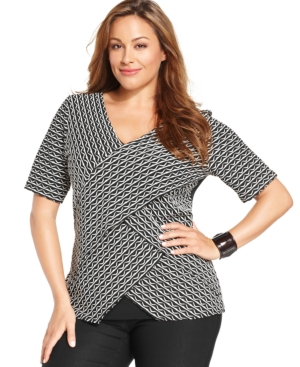 Ny Collection Plus Size V-Neck Printed Tiered Top