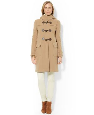 Lauren Ralph Lauren Wool-Cashmere-Blend Hooded Toggle-Front Walker Coat