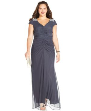 Alex Evenings Plus Size Embellished Ruched Gown