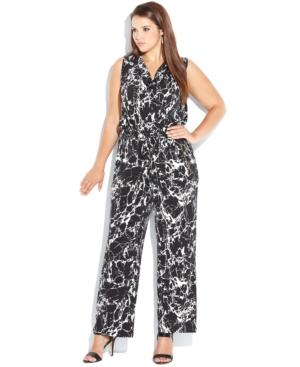 Calvin Klein Plus Size Sleeveless Cowl-Neck Marble-Print Jumpsuit