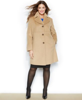 Larry Levine Plus Size WoolBlend NotchedCollar Walker Coat