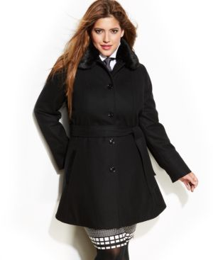 Laundry by Design Plus Size Faux-Fur-Collar A-Line Coat