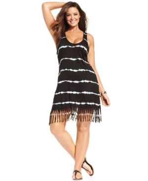 Raviya Plus Size Tie-Dye Striped Dress Cover Up Women's Swimsuit