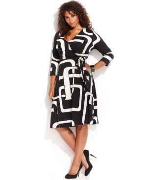 INC International Concepts Plus Size Graphic-Print Faux-Wrap Dress