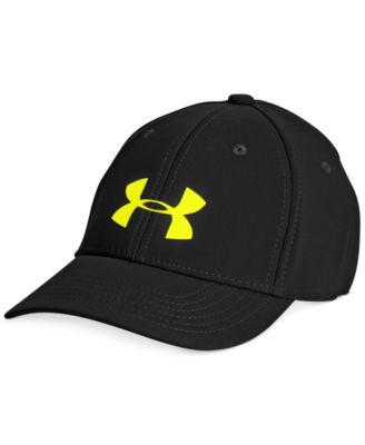 Black//High-Vis Yellow Under Armour Boys/' Headline Stretch Cap Small//Medium