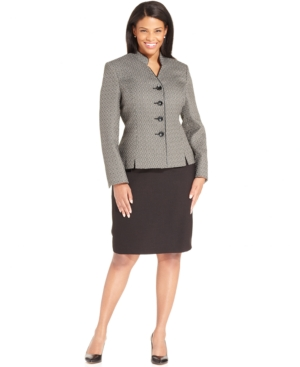 Le Suit Plus Size Textured-Blazer Skirt Suit