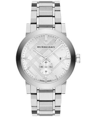 burberry s swiss stainless steel bracelet 42mm