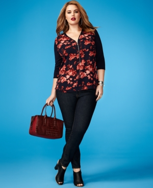 Vince Camuto Plus Size Floral-Print Mixed-Media Top