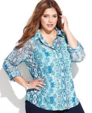 INC International Concepts Plus Size Printed Button-Front Shirt
